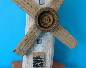 Windmill made from driftwood collected from Solent beaches.