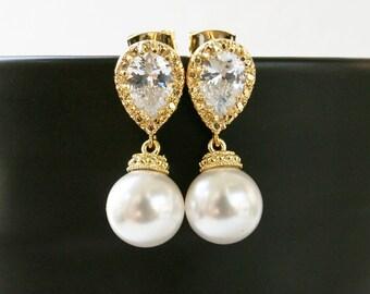 Swarovski White Pearl Earrings, Wedding Earrings, Bridal Earrings, Cubic Zirconia Earrings, Drop Earrings, Bridesmaid Gift, Stud earrings
