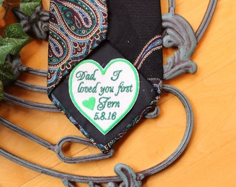 """Father of the Bride Gift,Slim Tie Patch 2.3"""" wide - smooth border, heart tie patch, monogram Tie Patches. Father of the Bride Gift. TSL101"""