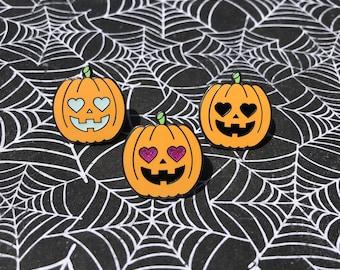 Cute-O-Lantern Enamel Pin (3 Colorways) // Jack-O-Lantern Lapel Pin // Halloween Pin // Enamel Pin // Cute Pin // Pumpkin Pin // Witch Pin