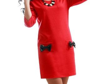 Red dress Daytime dress Jersey dress party Dress with pockets Decorative bow Dress Box Simple dress Boho dress