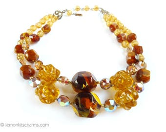 Vintage Brown Yellow Multistrand Beaded Necklace, Jewelry 1950s Mid-century, 2 Strand, Choker, Large Chunky, Plastic Lucite, Autumn