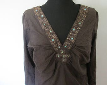 03 Brown crinkle cotton summer tunic.