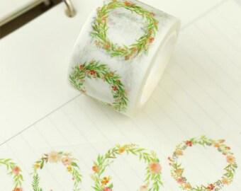 Green floral flower wreath garland washi tape deco tape masking tape scrapbook planner happy mail craft bullet journal