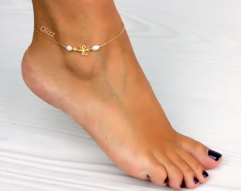 Dragonfly anklet / Freshwater pearl / Personalized Gold filled anklet / Nature jewelry / Pearl ankle bracelet / Foot jewelry /  0038AM