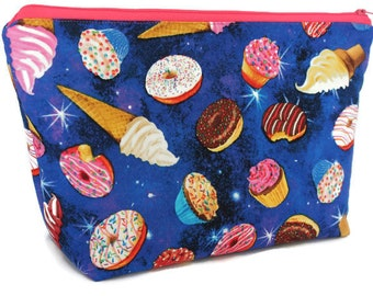 Extra Large Cosmetic Bag - Toiletry Bag - Travel Bag - Makeup Bag - Wet Bag - Accessory Pouch - Donut Bag