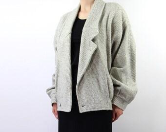 VINTAGE Coat Womens 1980s Light Grey Wool Medium