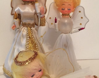 3 Vintage Christmas Angels Lighted tree topper  ornaments Fuzzy hair
