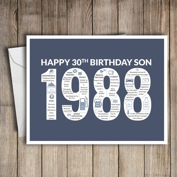 30th Birthday Card Son 1988 30 Greeting Card Birth