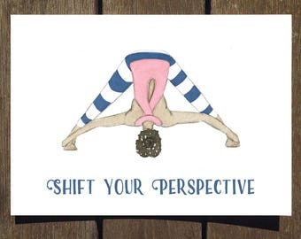 Shift Your Perspective - Blank Yoga Pose Greeting Card // Yoga Card // Blank Inside // Forward Fold Yoga Pose // Yoga Gifts