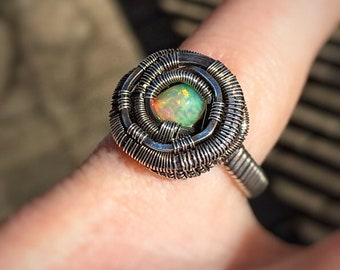 Wire wrapped ring // Ethiopian Opal // Opal Ring // US size 7 // Oxidized Silver // Comfortable // Wire Flow // Elegant
