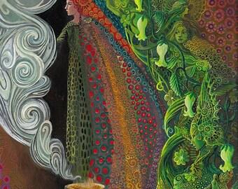 Witch's Brew 5x7 Blank Greeting Card Fine Art Print Pagan Mythology Art Nouveau Gypsy Witch Psychedelic Goddess Art