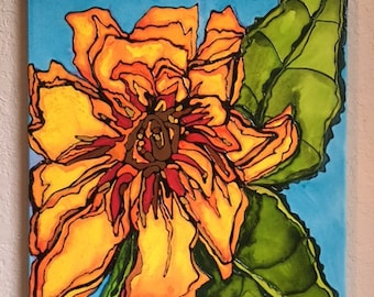 Sunflower In The Garden Hand Painted Acrylic On Wood Framed Canvas
