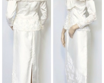 1980's Wedding Dress Suit San Martin Bridal Gown Separates Skirt and Top Pearl Sequin Lace Dress Size Extra Small