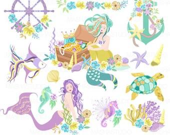 """Mermaid clipart: """"AQUA MERMAIDS CLIPART"""" anchor clipart, summer clipart, nautical clipart, sea shell clipart, 24 images, 300 dpi. png files"""