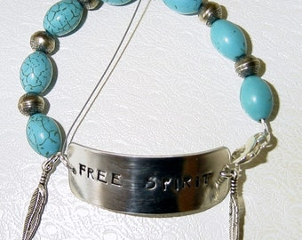 Free Spirit Stamped Turquoise and Sterling Silver Bracelet!! SRAJD
