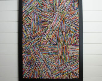 modern art in a black frame - woven depth - made from recycled magazines, lines, art, diagonal, colorful, unique, handmade, texture, detail