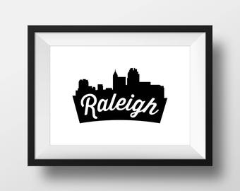 Print – Raleigh Skyline, Black