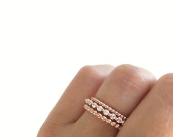 Rose Gold Wedding Bands Eternity Band Ring Fine Cz Stacking