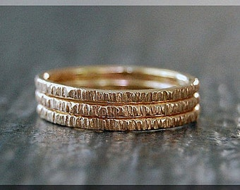 Set of 3 14k Gold Filled Twig Ring, Bark Texture Ring, Gold Stacking Ring, Gold Filled Ring, Woodland Ring, Nature Inspired Simple Ring