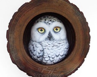 Snowy Owl Nest | A Fantastic Lucky Charm to Decorate your Home and a Unique Gift Idea for Owl Lovers! Original 3-D Art 100% Handpainted