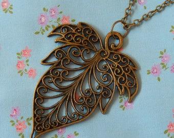 Large Lacy Leaf Pendant Necklace