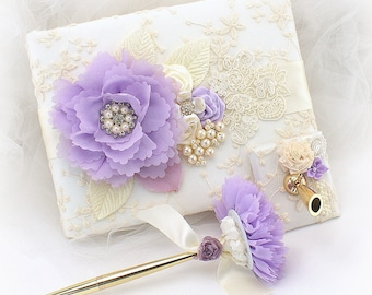 Ivory Purple Lilac Lace Wedding Guest Book,Guestbook with Pearls,Gold Wedding Pen,Personalized Guest Book,Custom Order