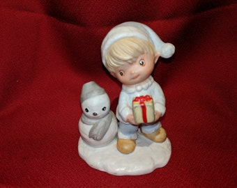 5613 Homco Boy, Gift & Snowman Figurine Christmas Decoration For The Holidays