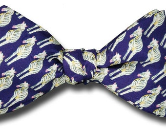Men's SILK Freestyle BOW TIE Zebras Wildlife Hearing Hoofbeats Doctor Dr Physician Diagnosis Self Tie Your Own BowTie
