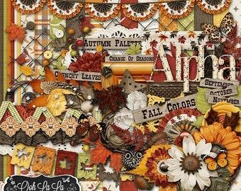 On Sale 50% Autumn Falling Slowly Fall, Digital Scrapbook Scrapbooking Kit