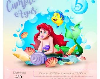 Birthday Invitation The Little Mermaid Ariel