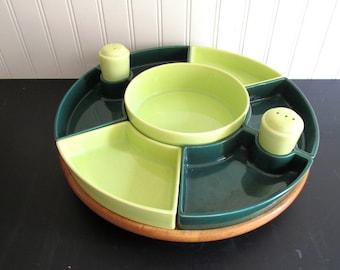 Mid Century Sylvan Pottery Lazy Susan Forest Green Lime Green Vintage Ten Piece Condiment Server Set