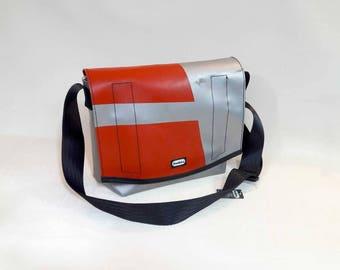 Recycled truck tarp satchel