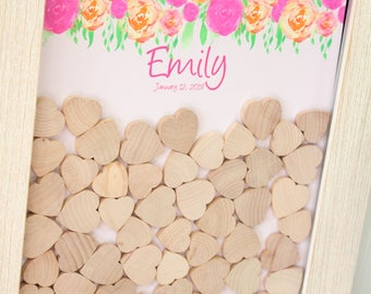 bridal shower guestbook droptop frame alternative guestbook drop box guest book guest book frame Wedding dropbox Alternative Guestbook white