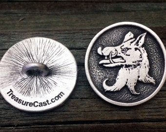 2 Medieval Boar Pewter Shank Buttons 1 Inch & 7/8 Inch