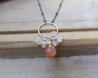 Sunstone Drop &Moonstone Fringe Earrings in Gold and Black Silver