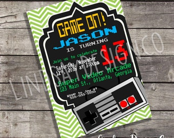Video Game Themed Boy's or Girl's Birthday Party Invitation - Digital or Printed