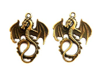 lot 2 serpent dragon charm bronze 40x25mm