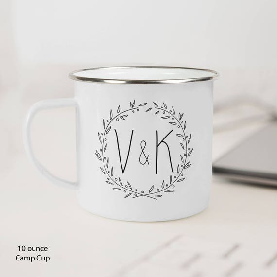 Coffee Mug Monogram Initials Wreath Coffee Cup - Couple Initials Coffee Mug - Valentine Gift Mug