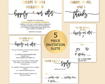 Black and Gold Wedding Invitation Template, Script invitation, Editable PDF Invitation, DIY Rustic Wedding Invitation Suite Printable