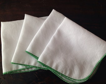 Handkerchiefs Reusable Tissues with Green Surged Edge Set of 4 by Smartkin