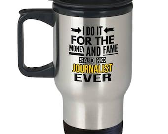 Funny Travel Mug For Journalist, Travel Mug With Handle, Gift For Journalist, Journalist Gifts, Male, Female, Funny Travel Gift, News,