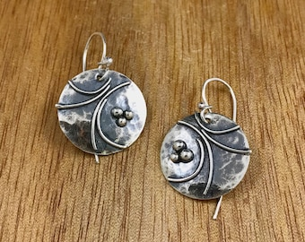 Textured sterling earrings, Oxidized sterling, hammered circle earrings, Regina Marie Designs, Sterling circle earrings, vine design,