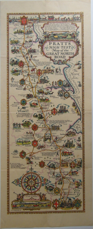 Original 1930 Pictorial Map Poster Pratts High Test Map