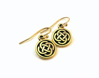 Small Celtic Knot earrings / Gold plated Celtic Knot earrings / Celtic knot dangle earrings