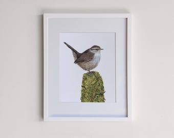 Wren on a Moss Covered Post Original Framed Painting - Acrylic