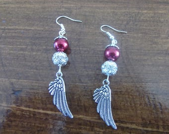 Burgundy earrings silver, angel wing