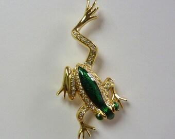 Swarovski Green Enameled Frog Pin Brooch #63730219