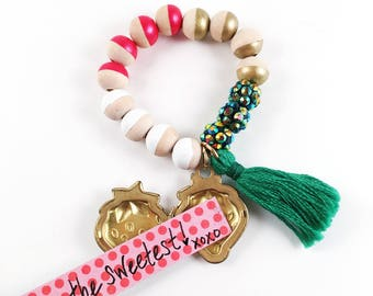 Strawberry Locket Charm Bracelet, Tassel, Locket, Charm, Girl, Strawberry, Girl Gift, Notes, Berry, Hand Painted, Beads