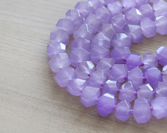 10 pcs of Natural Purple Faceted Nugget Sinkiang jade beads